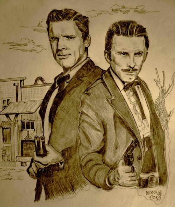 Burt Lancaster, Kirk Douglas by didgiv